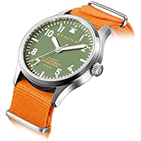 Men's Stainless Steel Quartz Watch with Sapphire 100 Meters Water Resistant (Fire Orange Nylon NATO Strap)