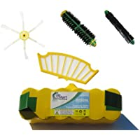 Replacement iRobot Roomba 560 Battery, Filter, Bristle Brush, Flexible Beater Brush and 6-Arm Side Brush - Kit Includes 1 Battery, 1 Filter, 1 Bristle Brush, 1 Flexible Beater Brush and 1 6-Arm Side Brush