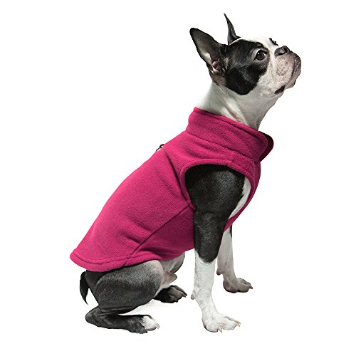 Gooby - Fleece Vest, Small Dog Pullover Fleece Jacket with Leash Ring, Fuchsia, X-Small