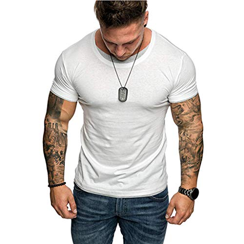 (Men's Gym Muscle Fitness Simple Short Sleeve,MmNote Cotton Elastic Antibacterial Premium Fitted Cool Quick Quick-Dry T-Shirt White)