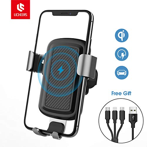 licheers Wireless Car Charger, Gravity Fast Wireless Charging Air Vent Car Phone Mount for iPhone Xs Max iPhoneX iPhone8 Samsung Galaxy S8, S8 Plus,S7 Edge, S6Plus, Note 8 Qi Certified (Black)