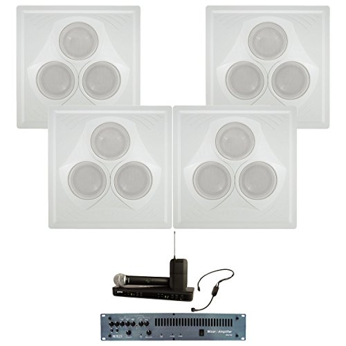 - Pure Resonance Audio Wireless Sound System for Presentations with 4 Ceiling Speakers, Mixer Amp, Dual Mic Wireless System