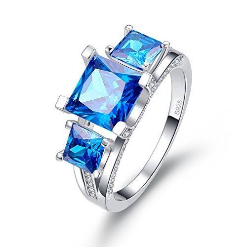 (BONLAVIE 925 Sterling Silver 2.5ct Princess Cut Swiss Blue Topaz and Cubic Zirconia 3-stone Engagement Ring,)