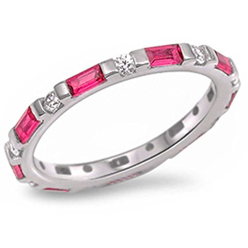 Ruby Oxford (Simulated Ruby Stackable Eternity Anniversary Band .925 Sterling Silver Ring Size 10)