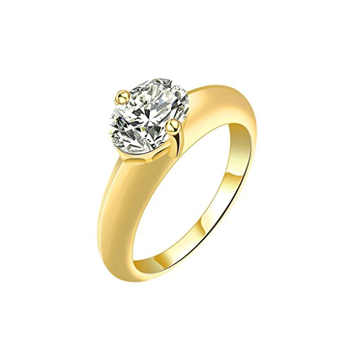 August 2006 Pearl (Daesar Gold Plated Rings Womens Engagement Ring Oval Cat Eye Gold Rings Size:6)