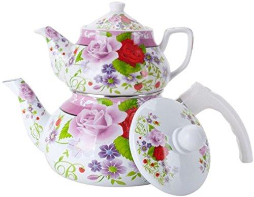 Double Tea Kettle Porcelain Teapot 2-Pc Set 0.852L Ceramic +