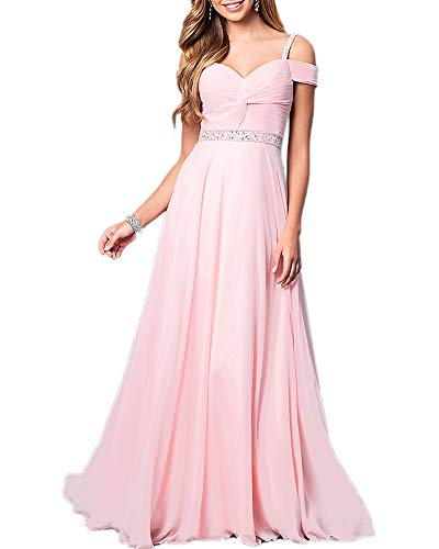 Aofur New Lace Long Chiffon Formal Evening Bridesmaid Dresses Maxi Party Ball Prom Gown Dress Plus Size (XXXX-Large, Light Pink) ()