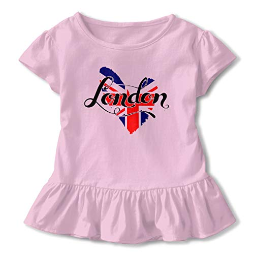 Toddler Girl British Flag in Heart Shape London Short Sleeve Dress Ruffle T-Shirt Blouse Casual Clothes Pink -