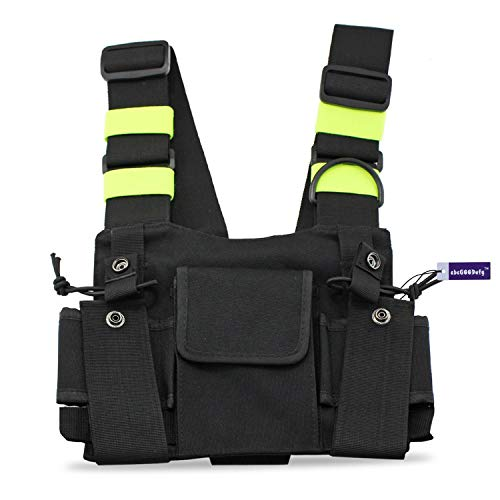 Vest Radio Pouch - abcGoodefg Radio Chest Harness Chest Front Pack Pouch Holster Vest Rig for Two Way Radio Walkie Talkie(Rescue Essentials) (Green)
