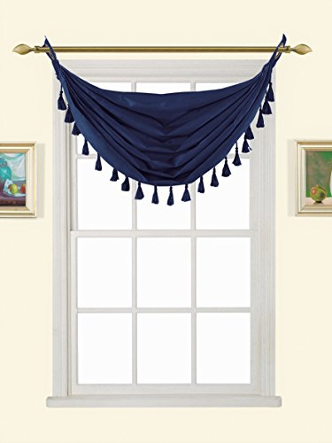 """GorgeousHome (M12) NAVY BLUE 1pc Solid Elegant Faux Silk Swag Waterfall Antique Grommets Dressing Small Window Valance, w/ Fringes Tassel 50"""" X 37"""" Inch"""