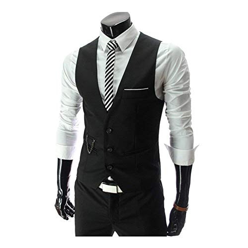 Vest Casual Fit Giacca Monopetto Con Tuta Sleeveless Taglie Maniche Formale Tinta Unita Scollo A Senza Uomo Slim Comode Schwarz Abiti Da V 4qfw0SI
