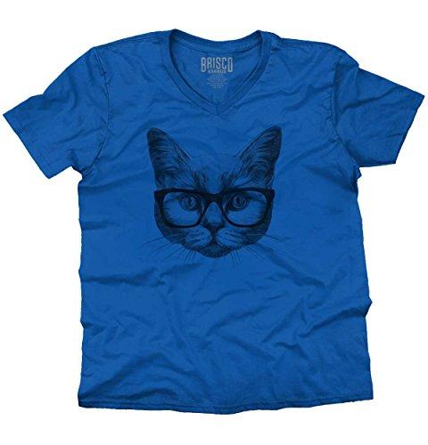 Cool Hipster Cat Shirt | Funny Kitten Cute Gift Idea Pet Love V-Neck - Hipster Guys Cute
