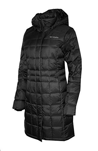 ar Pass Hooded Long Down Jacket Omni Heat Puffer (Black, S) ()