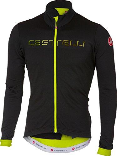 Castelli Fondo Full-Zip Long-Sleeve Jersey - Men's Light Black/Yellow Fluo, L