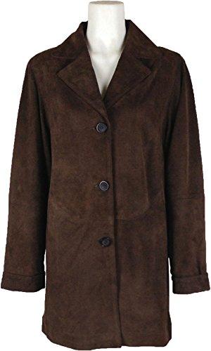 UNICORN Mujeres capa clásica Genuino real cuero chaqueta Marrón Gamuza #BQ