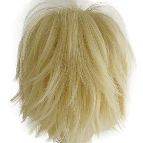 Alacos Unisex Cosplay Short Straight Hair Wig Anime Party Dresses Costume Fluffy Wigs Pale Blonde Wig+ Free Wig Cap]()