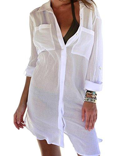 Bsubseach White Long Sleeve Beach Blouses Cover Up Dress Women Turn Down Collar Bikini Swimwear Bathing Suit Cover Ups Tunic