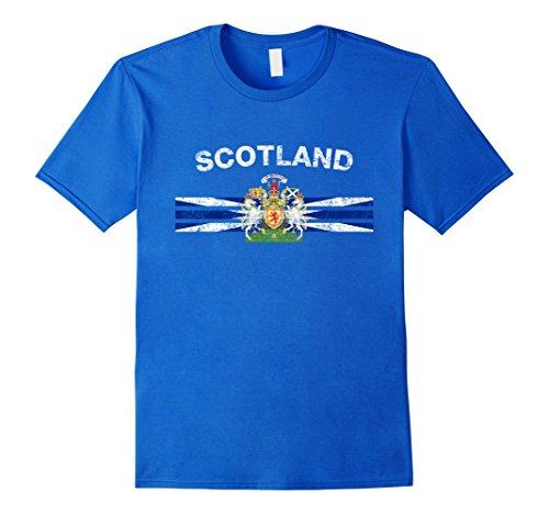 Mens Scottish Flag Shirt - Scottish Emblem & Scotland Flag Shirt Small Royal Blue