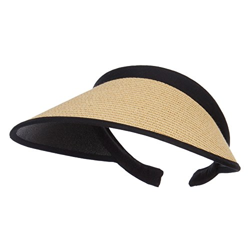 MG Toyo Braid Clip On Paper Visor - Khaki - Wide Braid Hat Toyo