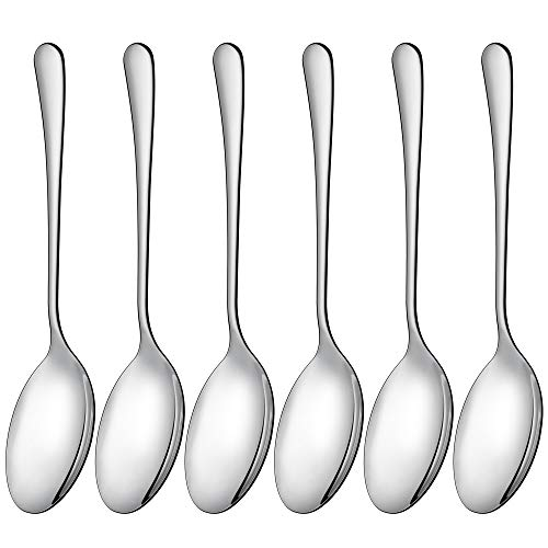 LIANYU Serving Spoon Set of 6, 9.8 Inch Stainless Steel Large Dinner Buffet Catering Banquet Serving Spoons, Mirror Finish, Dishwasher Safe -