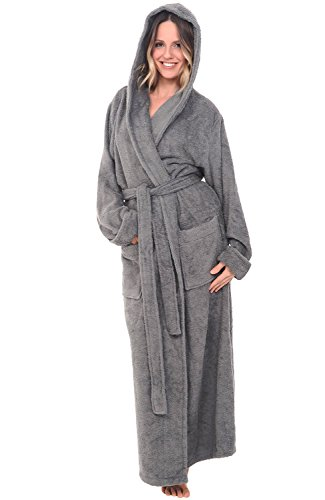 Del Rossa Womens Turkish Terry Cloth Robe, Long Cotton Hooded Bathrobe, Large XL Steel Grey (A0127WSTXL) (Turkish Cloth Robes Terry)