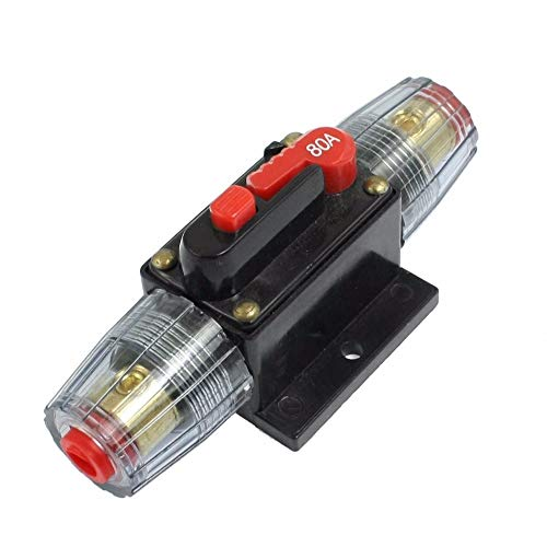 (12V DC 20A 30A 40A 50A 60A 80A 100A Car Audio Inline Circuit Breaker Fuse System Protection (80A/80AMP))
