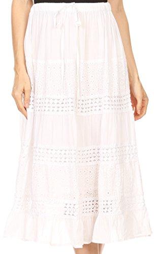 Eyelet Gauze (Sakkas 5289 - Geneva Cotton Eyelet Skirt with Elastic Waistband - White - OS)
