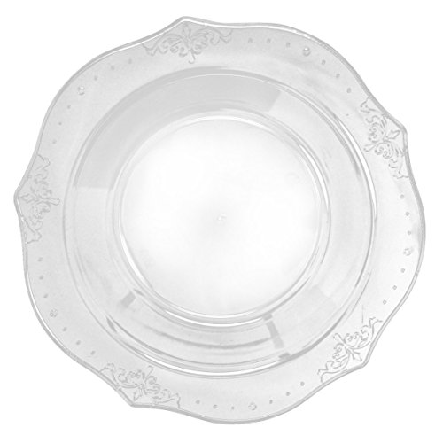 Posh Setting Antique Collection 40 Pack China Look 7.5 Inch Clear Plastic Soup Bowls, Fancy Disposable Dinnerware by Posh Setting