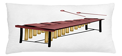 Marimba Throw Pillow Cushion Cover by Lunarable, Illustration of a Percussion Instrument with Wooden Bars and Two Beaters, Decorative Square Accent Pillow Case, 36 X 16 Inches, Dried Rose Gold Black