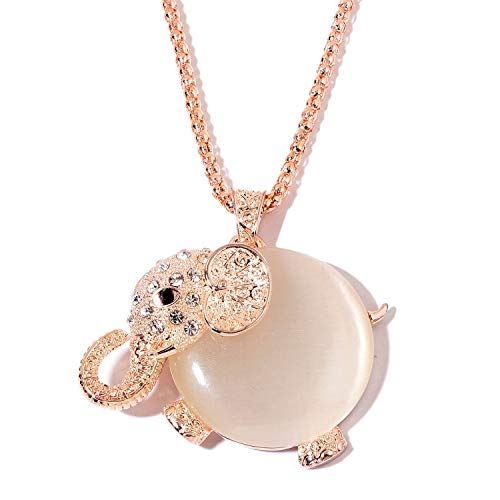 Shop LC Delivering Joy Elephant Chain Pendant Necklace Rosetone Synthetic Cats Eye White and Black Crystal 32