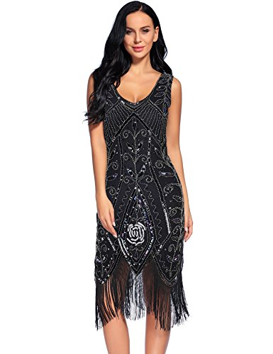 Flapper Girl Women's 1920s Flapper Dress Tassel Sequin Gatsby Costume Dresses (L, Black) (Flapper Girls Dresses)