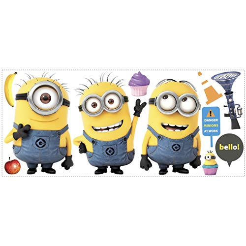 11 Piece Kids Yellow Blue Purple Minions Wall Decals Set, Cartoon Themed Wall Stickers Peel Stick, Fun Animated Despicable Me Cute Adorable Cupcakes Banana Bob Decorative Graphic Mural Art, Vinyl]()