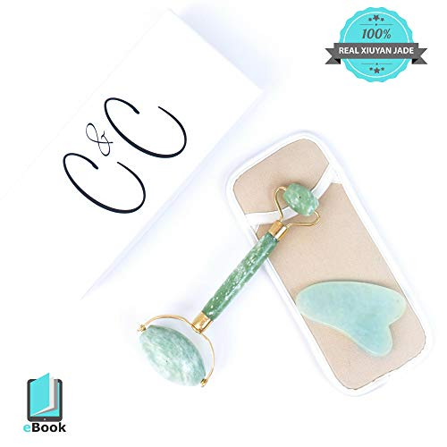 Genuine Anti Aging Jade Roller Gua Sha Scraping Tool Massage Set- Upgrade Beauty Routine for Glowing Skin. 100% Real Natural Jade Facial Double EZ Eye Roller Neck Slimming Face Wrinkle Healing Stones
