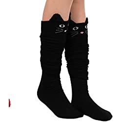 Kwok Womens Cat Catoon Socks Long Socks Over Knee High Sock (Black)