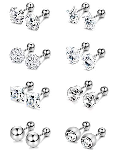 tainless Steel Stud Earrings Tragus Cartilage Earrings Labret Barbell Ball Studs CZ Helix Tragus Ear Piercing Jewelry Set For Women Girls ()
