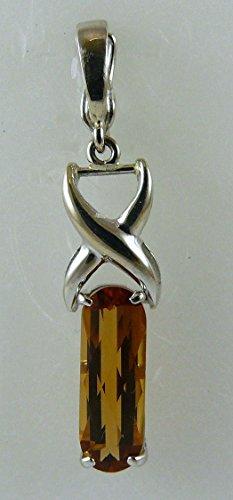 Citrine Rectangle Shape Pendant 14k White Gold with Enhancer by Vics Fine Jewelry (Image #1)