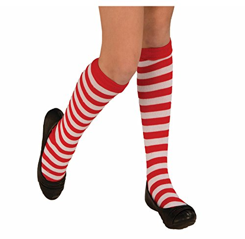 [Adult/Child Striped Costume Knee Socks Red White (Child)] (Edc Group Costumes)