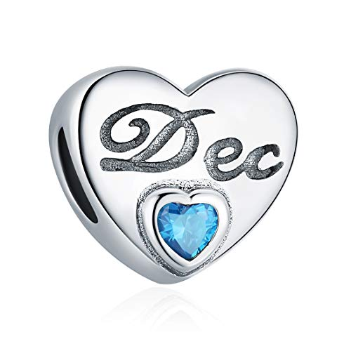 (December Birthstone Charm Blue Crystal Charm Beads Love Heart 925 Sterling Silver Charms for Bracelets, Birthday Gifts for Women Girls)
