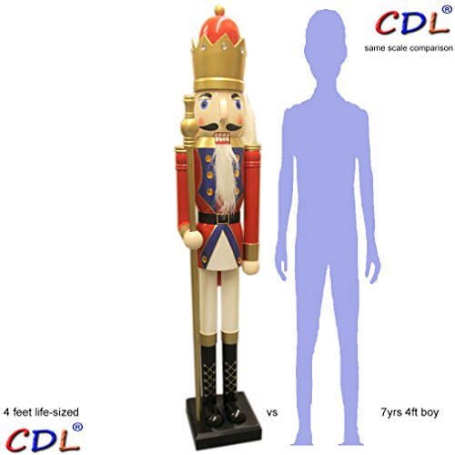 "CDL 48"" 4ft Tall Life-Size Large/Giant red Christmas Wooden Nutcracker King Ornament on Stand Holds Golden Scepter for Indoor Outdoor Xmas/Event/Ceremonies/Commercial Decoration K20"
