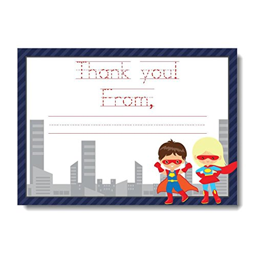 Superhero Thank You Notes for Kids, Boy and Girl Superhero Thank You Cards, Superhero Stationery Set, Thank You Card with Superheroes | Includes 12 Flat Note Cards and (Girl Flat Note)