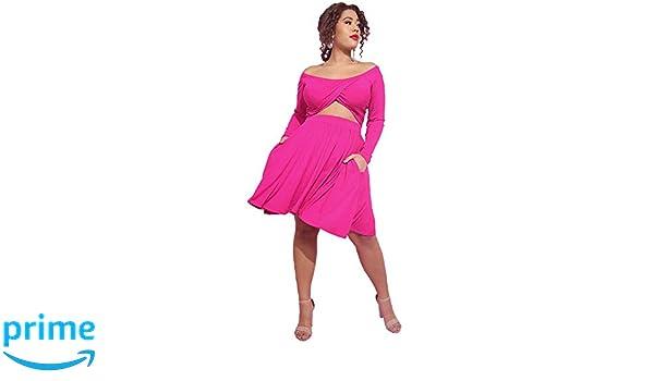Rebdolls Women s Cocktail Cutout Long Sleeve Mini Skater Dress with Pockets  - Plus Sizes 7c53c564b
