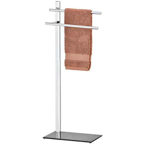 MyGift Freestanding 2 Tier Chrome Plated Bathroom/Kitchen Towel Rack with Black Glass Base by MyGift