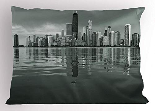 K0k2t0 Chicago Skyline Pillow Sham by, Nostalgic Weathered Lake Michigan Harbor Coastal Town Urban Vintage, Decorative Standard Queen Size Printed Pillowcase, 30 X 20 inches, Black and -