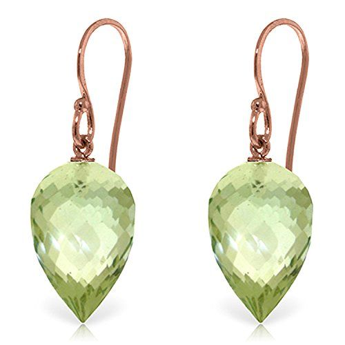 19 CTW 14K Solid Rose Gold Fish Hook Earrings Briolette Green Amethyst