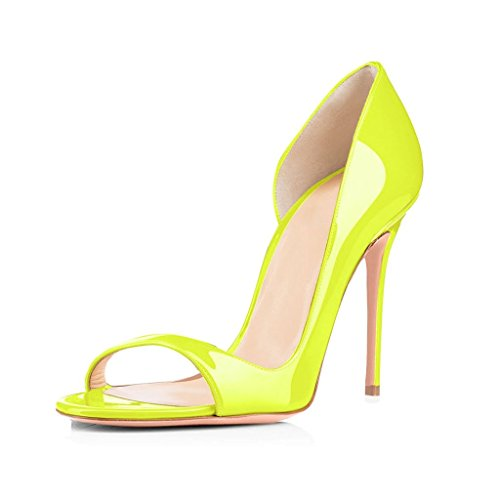 ELASHE Women High Heels Sandals | Cut Out Pumps | Peep Toe Stiletto | 12cm Elegante Sandals Lemon H3bbC