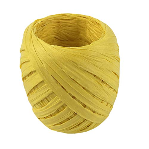 (20m Raffia, Paper Raffia String for Wrapping & Packing Birthday Gifts, Wine Bottles, Christmas Gifts, Party Bags, Cookie Bags, DIY Crafts, Hamper Bag, Raffia Table Skirting (Yellow) )
