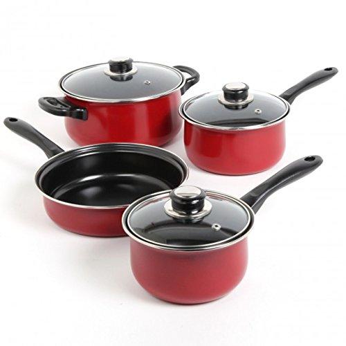 Sunbeam 72254.07 Newbrook 7 Piece Cookware Set, Red