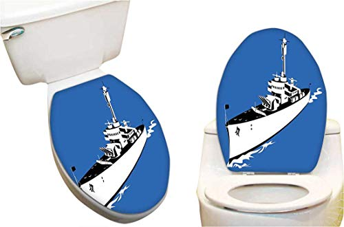 "Vinyl Toilet Set Cover Paper Decor for Force War Ship Boat Sealife Ocean Themed Animation Like Image Violet Blue White Fashion Toilet Seat Sticker Vinyl Art 11""x13"""