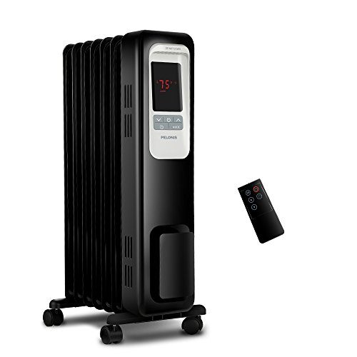 PELONIS Electric Radiator Heater, 1500W Portable Oil Filled Radiator Space Heater with Digital Thermostat, 24-Hour programmable Timer, Remote Control, Safe Heater for Full Room by PELONIS