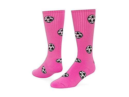Red Lion Soccer Balls Design Athletic Sports Knee High Socks ( Neon Pink - Small )